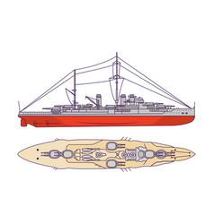 Battleship first world war and world war ii vector