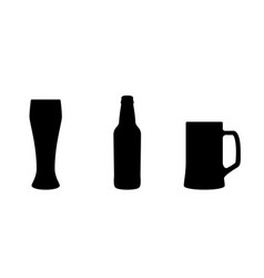 beer bottle and glasses black icons isolated on vector image