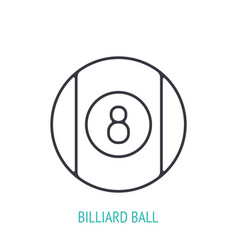 billiard ball number eight outline icon sports vector image