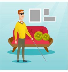 blind man with a stick vector image