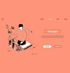 blogging - line design style isometric web banner vector image