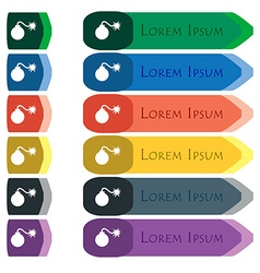 Bomb icon sign set of colorful bright long buttons vector