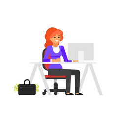 businesswoman at her workplace vector image