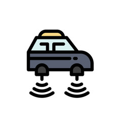 Car electric network smart wifi flat color icon vector