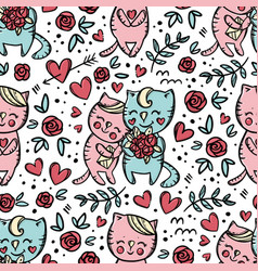 cat gives bouquet roses seamless pattern vector image