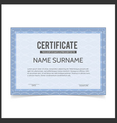 certificate template with blue designe borders vector image