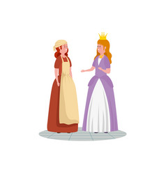 Cinderella with princess fairytale avatar vector