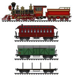 Classic american wild west steam train vector