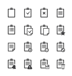 Clipboard icons over white ofice document vector image