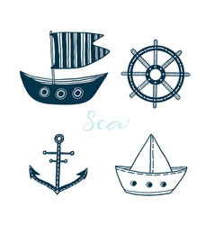 collection marine icons with boat ship wheel vector image