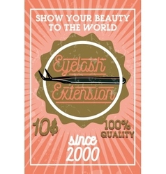 Color vintage eyelash extension banner vector