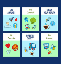 colored diabetes icons card or flyer vector image