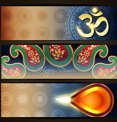 Colorful diwali headers vector
