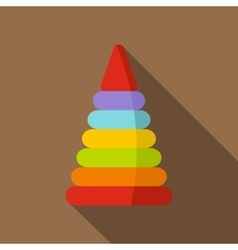 Colorful toy pyramid icon flat style vector image