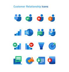 crm customer relationship icons set collection vector image