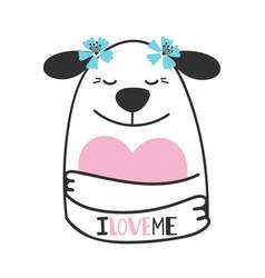 cute doodle dog hugs heart vector image