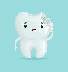 Cute sad cavity cartoon tooth character childrens vector