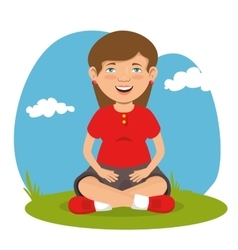 Cute woman sitting in the field vector