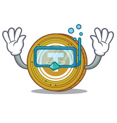 Diving tether coin character cartoon vector