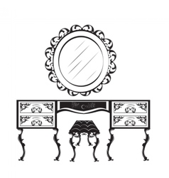 Dressing table silhouette vector