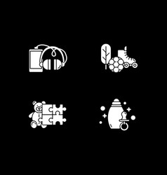 e commerce departments white glyph icons set vector image