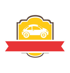 Emblem side sports car with ribbon vector