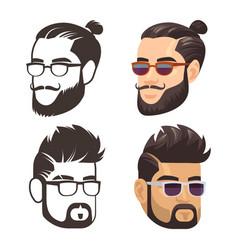 fashion male haircute and shaven beard set vector image