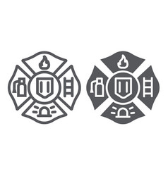 fire emblem line and glyph icon symbol and vector image