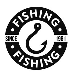 fishing hook club logo simple style vector image