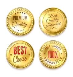 Four Golden Round Labels Set vector image
