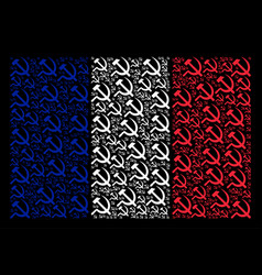 france flag mosaic of sickle and hammer icons vector image