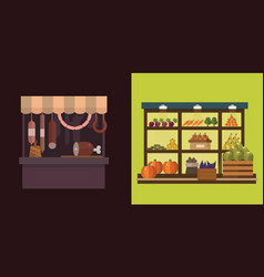 Fruit vegetables milk products meat bakery vector
