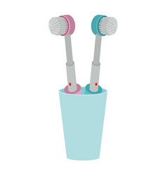 glass with two electric toothbrush colorful vector image