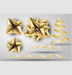 gold ribbon bow set vector image