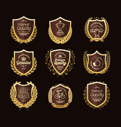 Golden laurel wreaths premium quality labels vector