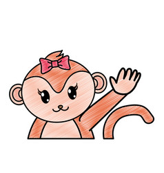 grated adorable female monkey animal with hand up vector image