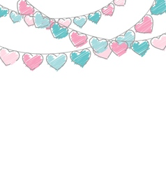 Hand-drawn hearts buntings garlands in pastel vector