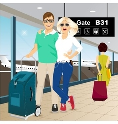 Happy couple standing at the airport vector
