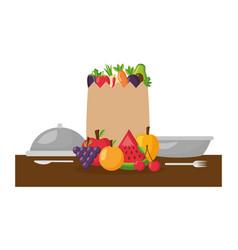 healthy food grocery bag fruits vegetables plate vector image