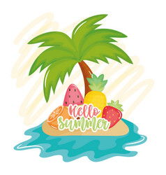 hello summer poster with holiday icons vector image