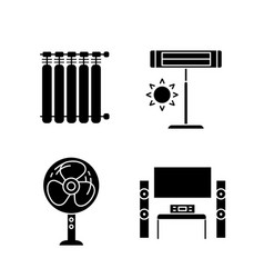 Household appliance glyph icons set vector
