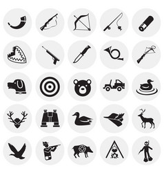 hunting icon set on circles background for graphic vector image
