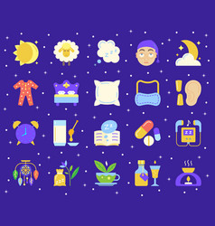 insomnia simple flat color icons set vector image