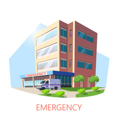 Isometric building hospital with ambulance vector
