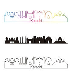 Karachi skyline linear style with rainbow vector