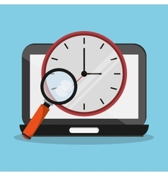 Laptop clock lupe and Worktime design vector