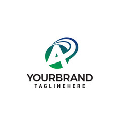 letter a fast logo design concept template vector image