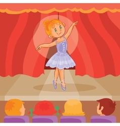 Little girl ballerina giving a presentation vector
