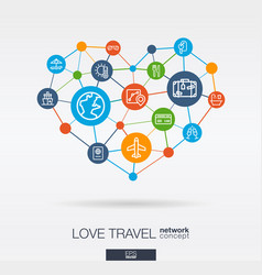 Love travel integrated thin line icons in heart vector