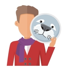 Man with Seal Mask Flat Design vector image